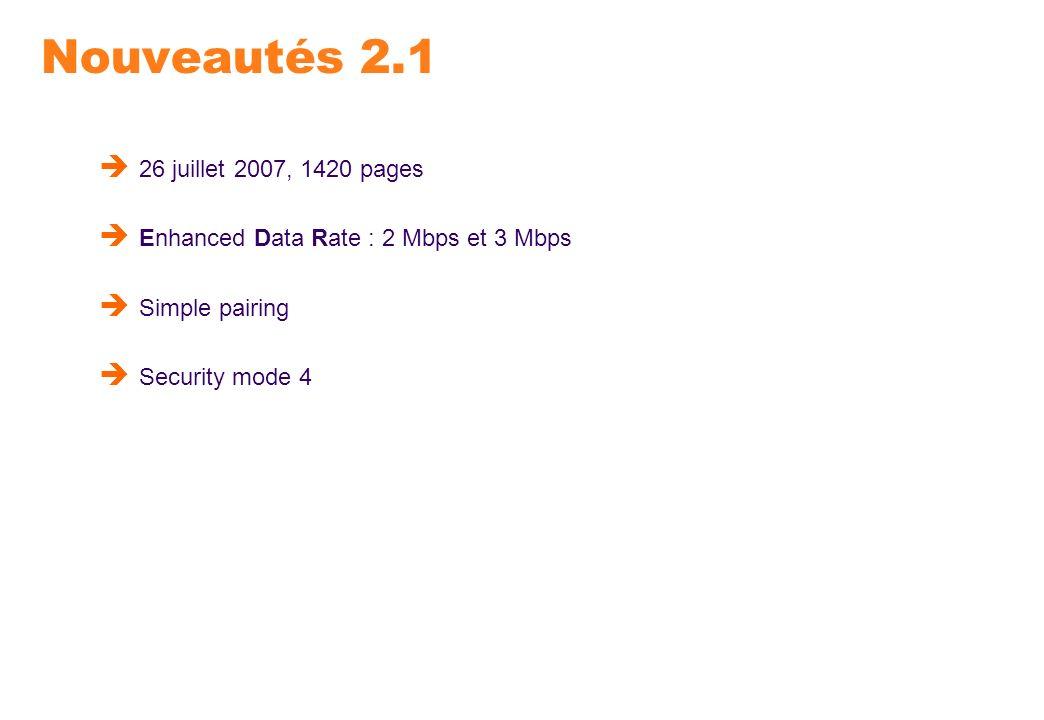 Nouveautés 2.1 26 juillet 2007, 1420 pages Enhanced Data Rate : 2 Mbps et 3 Mbps Simple pairing Security mode 4