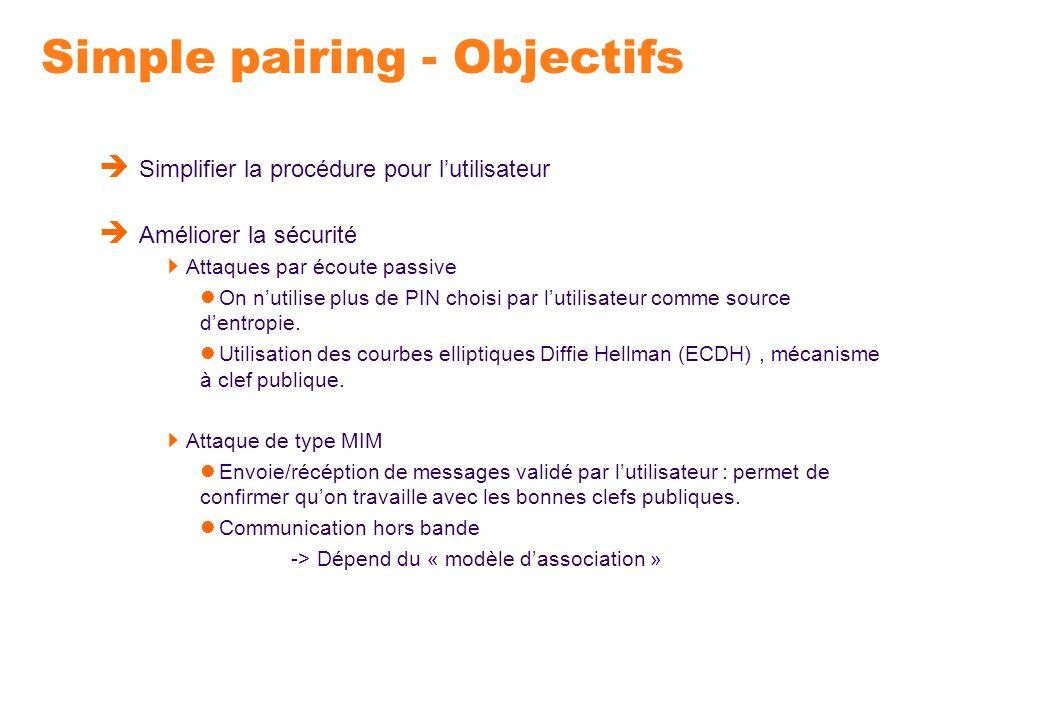 Simple pairing - Objectifs Simplifier la procédure pour lutilisateur Améliorer la sécurité Attaques par écoute passive On nutilise plus de PIN choisi
