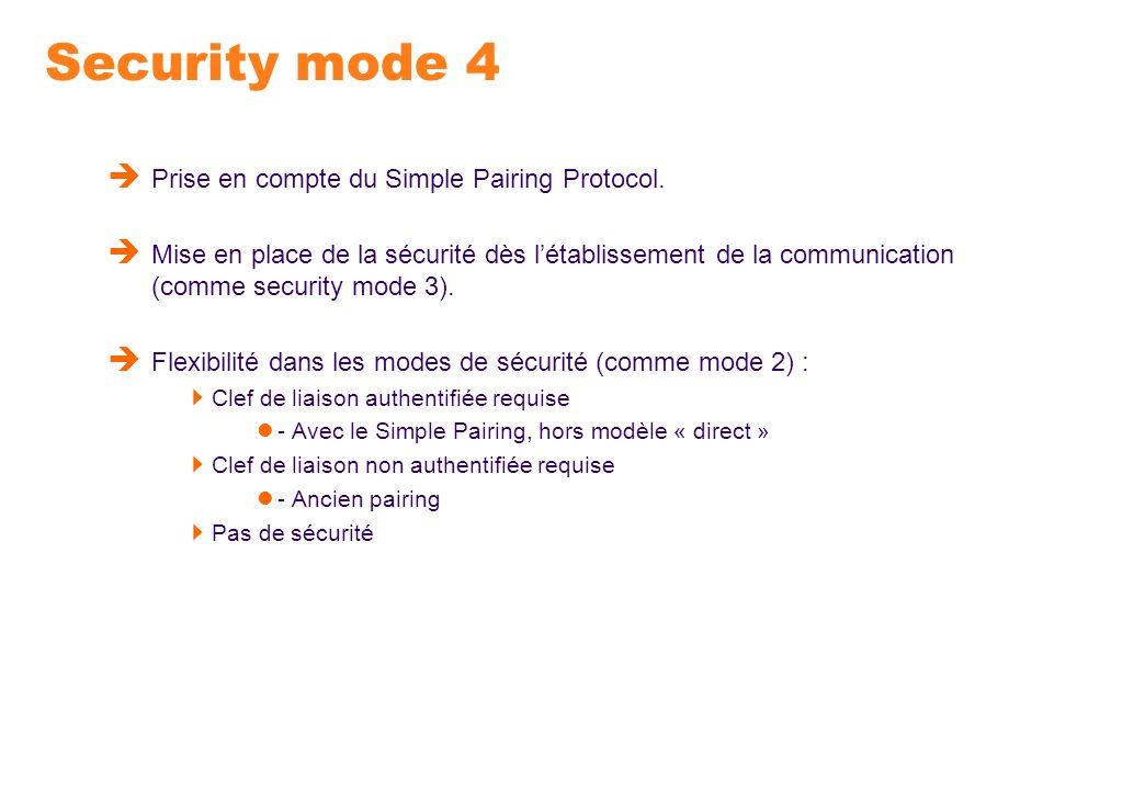 Security mode 4 Prise en compte du Simple Pairing Protocol. Mise en place de la sécurité dès létablissement de la communication (comme security mode 3
