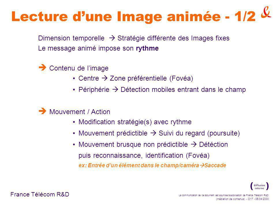La communication de ce document est soumise à autorisation de France Télécom R&D (médiation de contenus) - D17 - 05/04/2000 France Télécom R&D Lecture