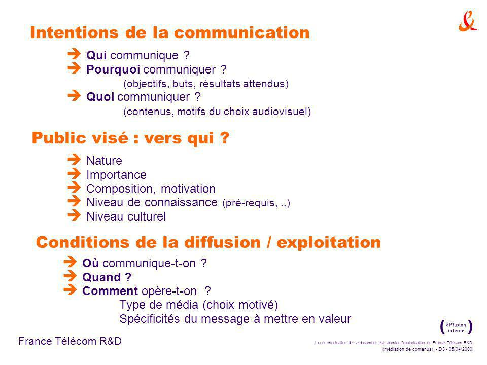 La communication de ce document est soumise à autorisation de France Télécom R&D (médiation de contenus) - D3 - 05/04/2000 France Télécom R&D Intentions de la communication è Qui communique .
