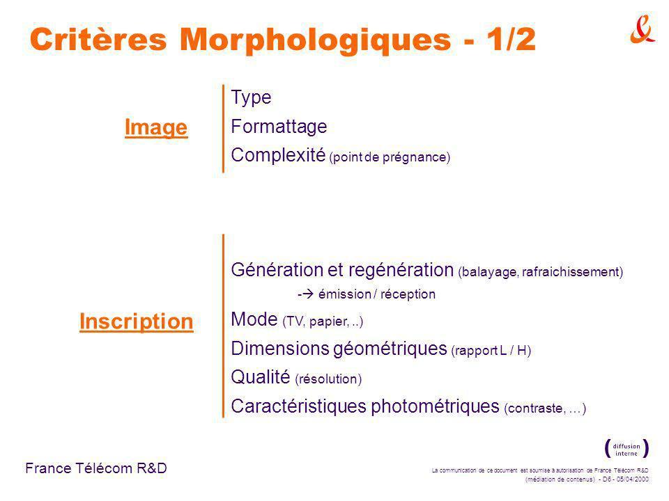 La communication de ce document est soumise à autorisation de France Télécom R&D (médiation de contenus) - D6 - 05/04/2000 France Télécom R&D Image Type Formattage Complexité (point de prégnance) Inscription Génération et regénération (balayage, rafraichissement) - émission / réception Mode (TV, papier,..) Dimensions géométriques (rapport L / H) Qualité (résolution) Caractéristiques photométriques (contraste, …) Critères Morphologiques - 1/2