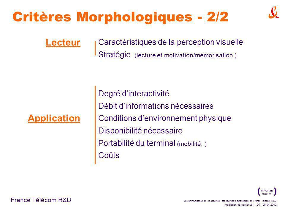La communication de ce document est soumise à autorisation de France Télécom R&D (médiation de contenus) - D7 - 05/04/2000 France Télécom R&D Lecteur