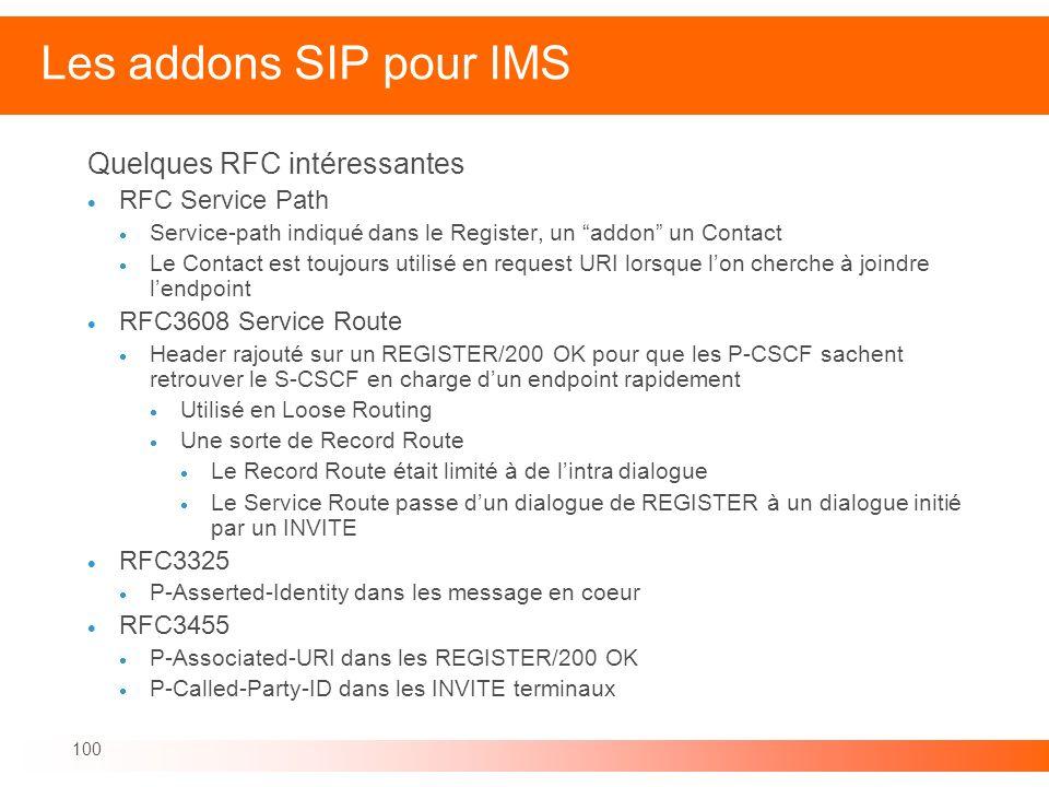 100 Les addons SIP pour IMS Quelques RFC intéressantes RFC Service Path Service-path indiqué dans le Register, un addon un Contact Le Contact est touj