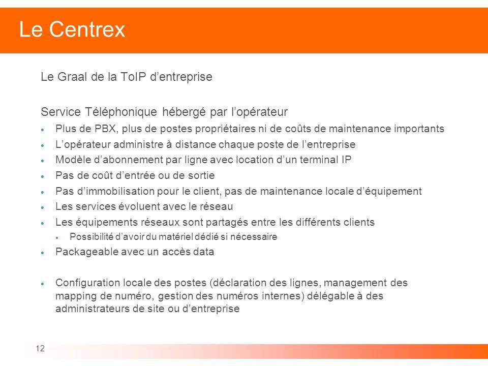 12 Le Centrex Le Graal de la ToIP dentreprise Service Téléphonique hébergé par lopérateur Plus de PBX, plus de postes propriétaires ni de coûts de mai
