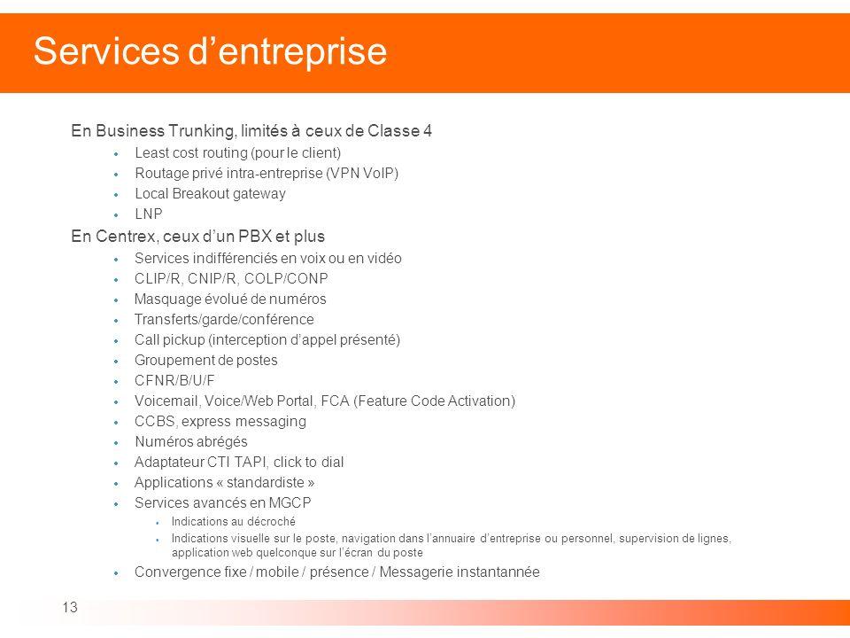 13 Services dentreprise En Business Trunking, limités à ceux de Classe 4 Least cost routing (pour le client) Routage privé intra-entreprise (VPN VoIP)