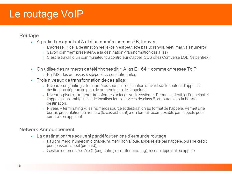 15 Le routage VoIP Routage A partir dun appelant A et dun numéro composé B, trouver: Ladresse IP de la destination réelle (ce nest peut-être pas B: re