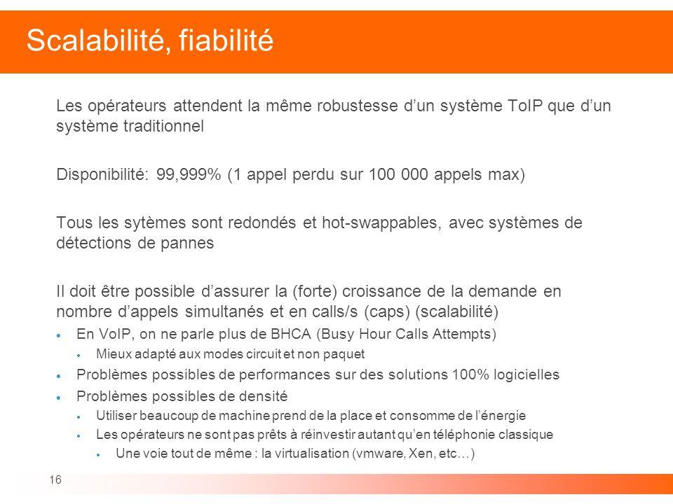 16 Scalabilité, fiabilité Les opérateurs attendent la même robustesse dun système ToIP que dun système traditionnel Disponibilité: 99,999% (1 appel pe