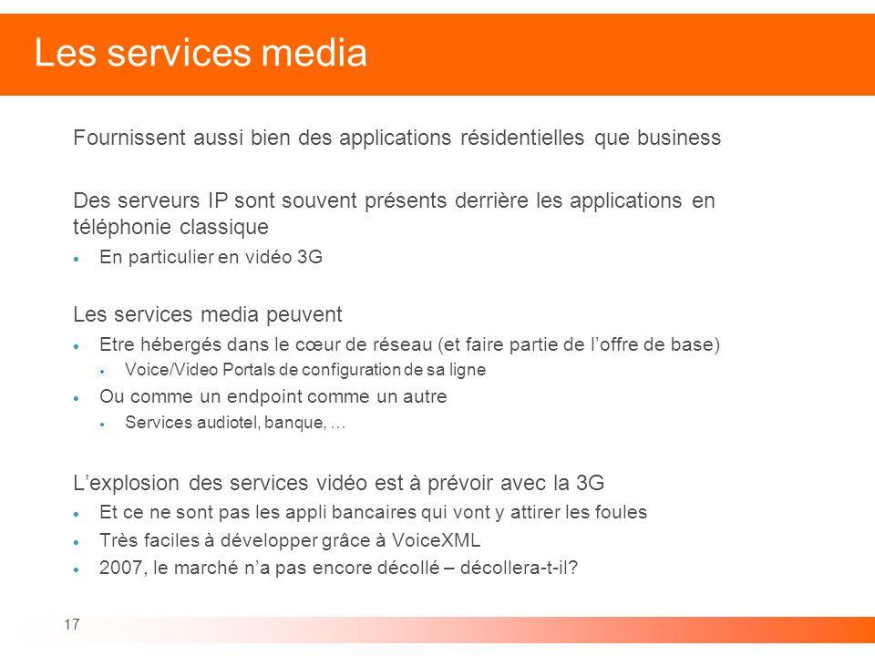17 Les services media Fournissent aussi bien des applications résidentielles que business Des serveurs IP sont souvent présents derrière les applicati
