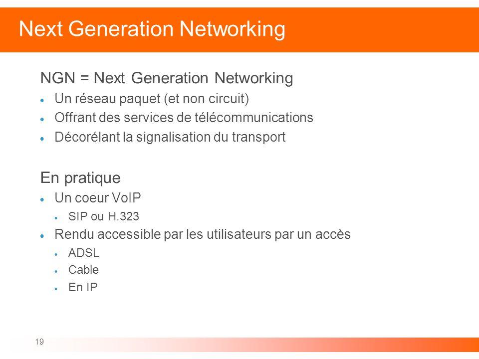 19 Next Generation Networking NGN = Next Generation Networking Un réseau paquet (et non circuit) Offrant des services de télécommunications Décorélant
