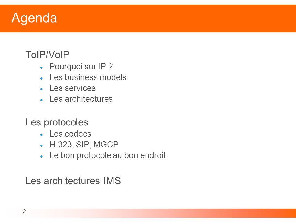 2 Agenda ToIP/VoIP Pourquoi sur IP ? Les business models Les services Les architectures Les protocoles Les codecs H.323, SIP, MGCP Le bon protocole au