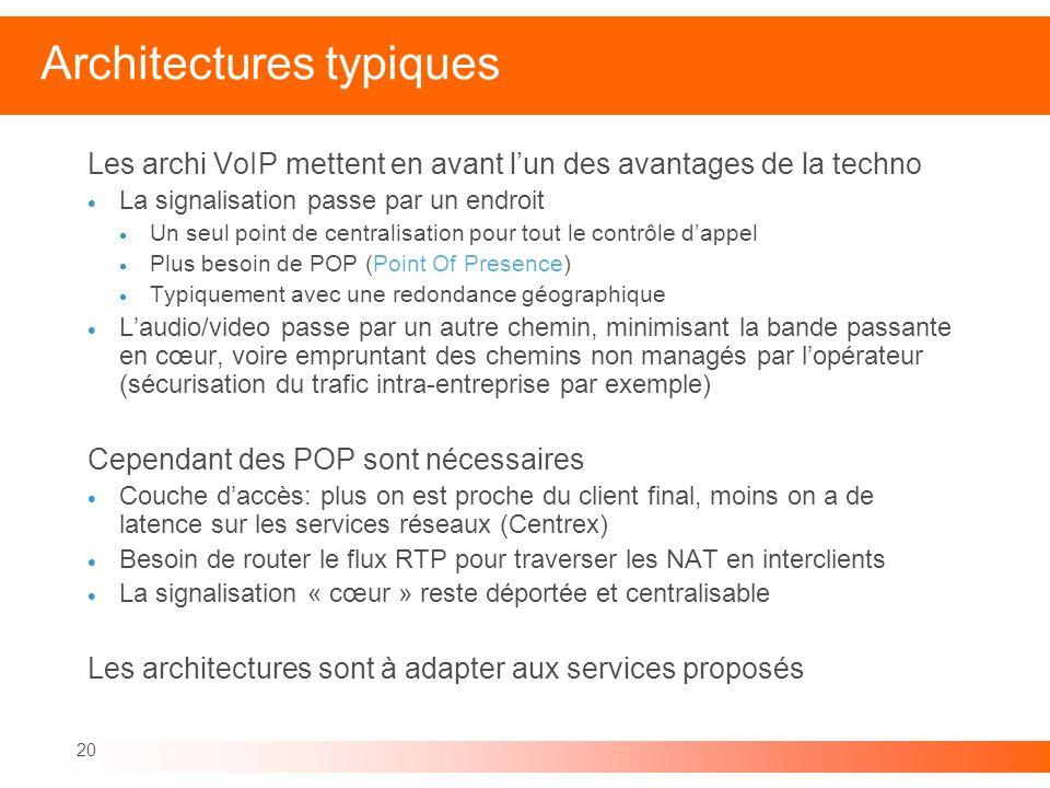 20 Architectures typiques Les archi VoIP mettent en avant lun des avantages de la techno La signalisation passe par un endroit Un seul point de centra
