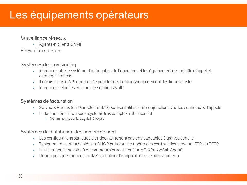 30 Les équipements opérateurs Surveillance réseaux Agents et clients SNMP Firewalls, routeurs Systèmes de provisioning Interface entre le système dinf