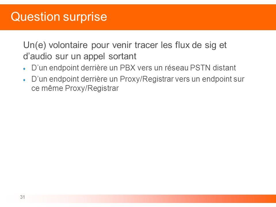 31 Question surprise Un(e) volontaire pour venir tracer les flux de sig et daudio sur un appel sortant Dun endpoint derrière un PBX vers un réseau PST