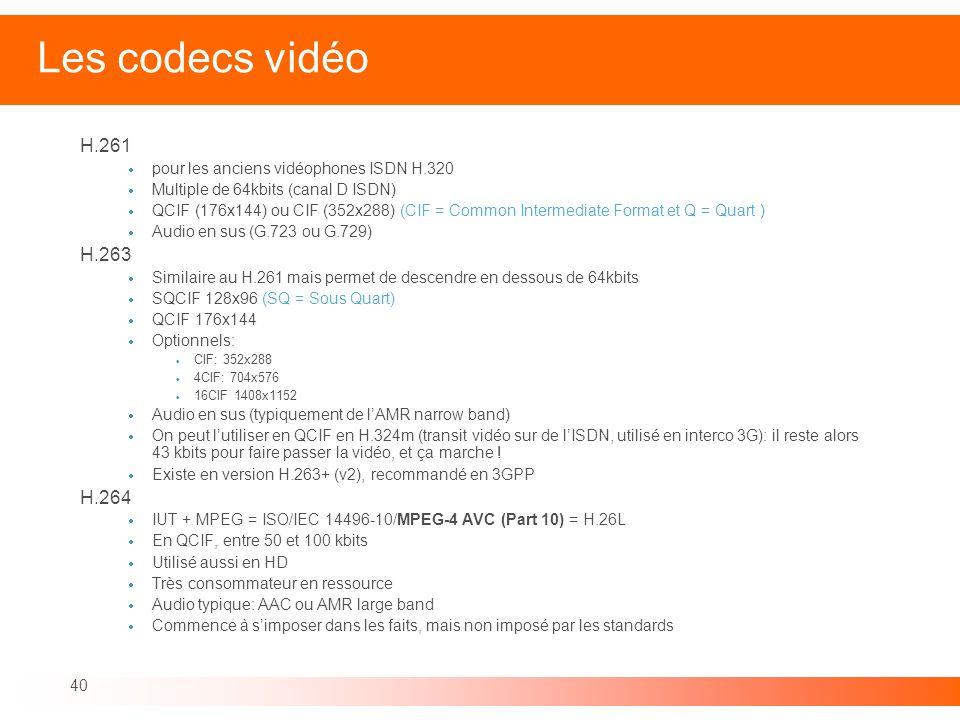 40 Les codecs vidéo H.261 pour les anciens vidéophones ISDN H.320 Multiple de 64kbits (canal D ISDN) QCIF (176x144) ou CIF (352x288) (CIF = Common Int