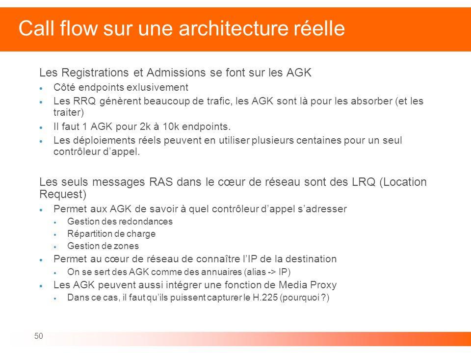 50 Call flow sur une architecture réelle Les Registrations et Admissions se font sur les AGK Côté endpoints exlusivement Les RRQ génèrent beaucoup de