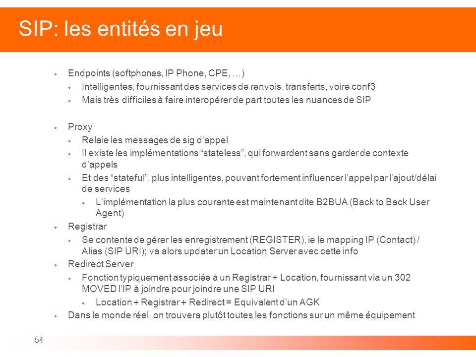 54 SIP: les entités en jeu Endpoints (softphones, IP Phone, CPE, …) Intelligentes, fournissant des services de renvois, transferts, voire conf3 Mais t
