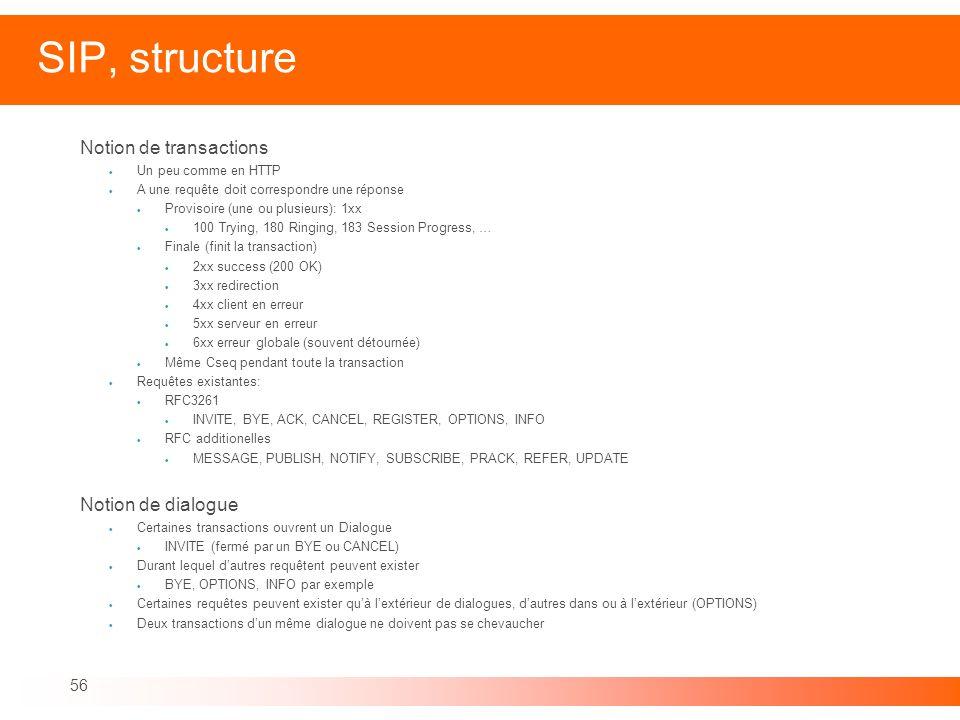 56 SIP, structure Notion de transactions Un peu comme en HTTP A une requête doit correspondre une réponse Provisoire (une ou plusieurs): 1xx 100 Tryin