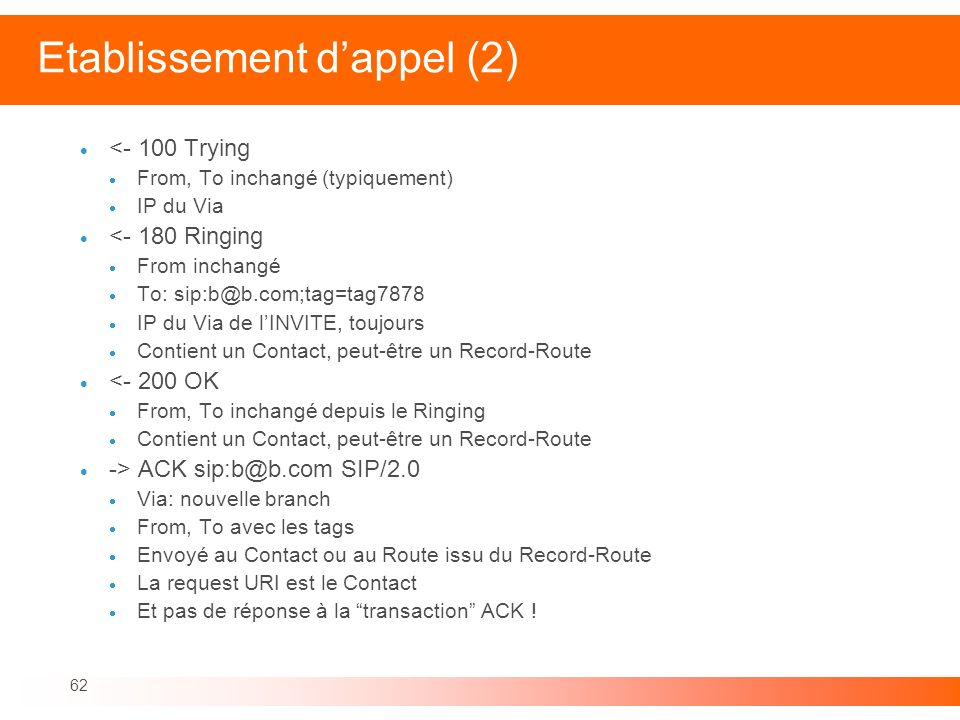 62 Etablissement dappel (2) <- 100 Trying From, To inchangé (typiquement) IP du Via <- 180 Ringing From inchangé To: sip:b@b.com;tag=tag7878 IP du Via