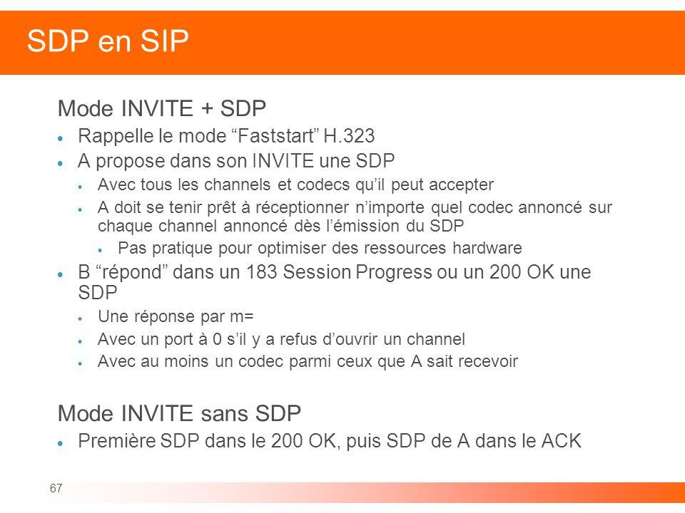 67 SDP en SIP Mode INVITE + SDP Rappelle le mode Faststart H.323 A propose dans son INVITE une SDP Avec tous les channels et codecs quil peut accepter