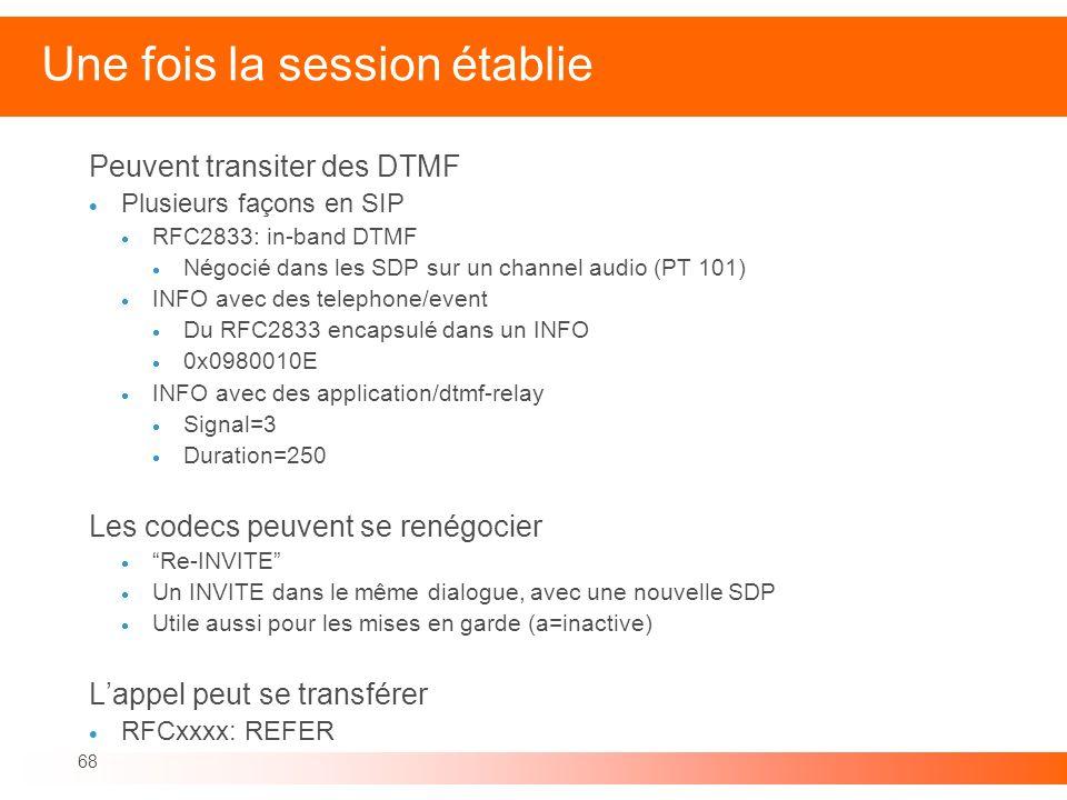 68 Une fois la session établie Peuvent transiter des DTMF Plusieurs façons en SIP RFC2833: in-band DTMF Négocié dans les SDP sur un channel audio (PT