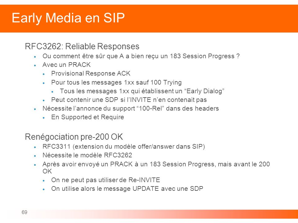 69 Early Media en SIP RFC3262: Reliable Responses Ou comment être sûr que A a bien reçu un 183 Session Progress ? Avec un PRACK Provisional Response A