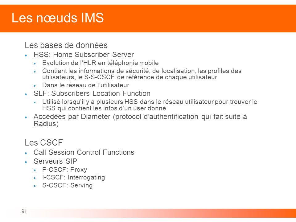 91 Les nœuds IMS Les bases de données HSS: Home Subscriber Server Evolution de lHLR en téléphonie mobile Contient les informations de sécurité, de loc