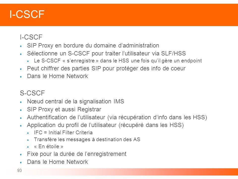 93 I-CSCF SIP Proxy en bordure du domaine dadministration Sélectionne un S-CSCF pour traiter lutilisateur via SLF/HSS Le S-CSCF « senregistre » dans l