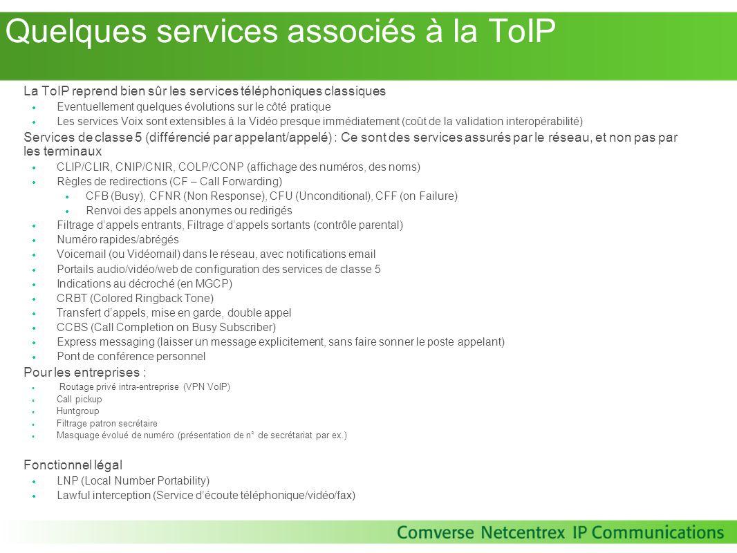 Quelques services associés à la ToIP La ToIP reprend bien sûr les services téléphoniques classiques Eventuellement quelques évolutions sur le côté pra