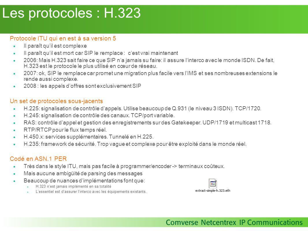 Les protocoles : H.323 Protocole ITU qui en est à sa version 5 Il paraît quil est complexe Il paraît quil est mort car SIP le remplace : cest vrai mai