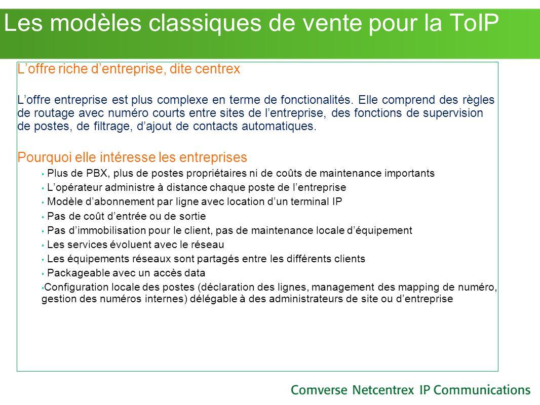 Les modèles classiques de vente pour la ToIP Loffre riche dentreprise, dite centrex Loffre entreprise est plus complexe en terme de fonctionalités. El