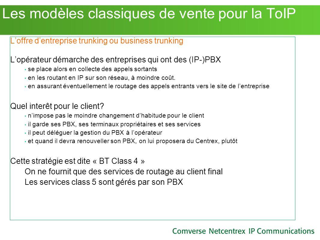 Les modèles classiques de vente pour la ToIP Loffre dentreprise trunking ou business trunking Lopérateur démarche des entreprises qui ont des (IP-)PBX