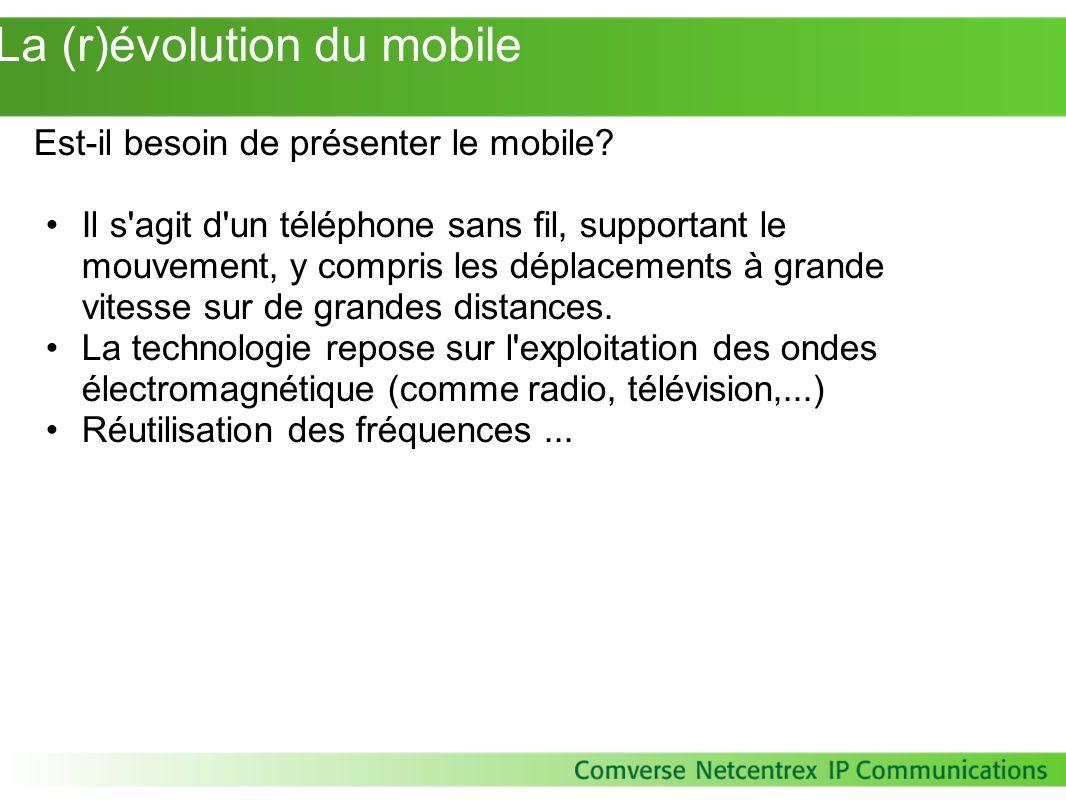 La (r)évolution du mobile Est-il besoin de présenter le mobile? Il s'agit d'un téléphone sans fil, supportant le mouvement, y compris les déplacements