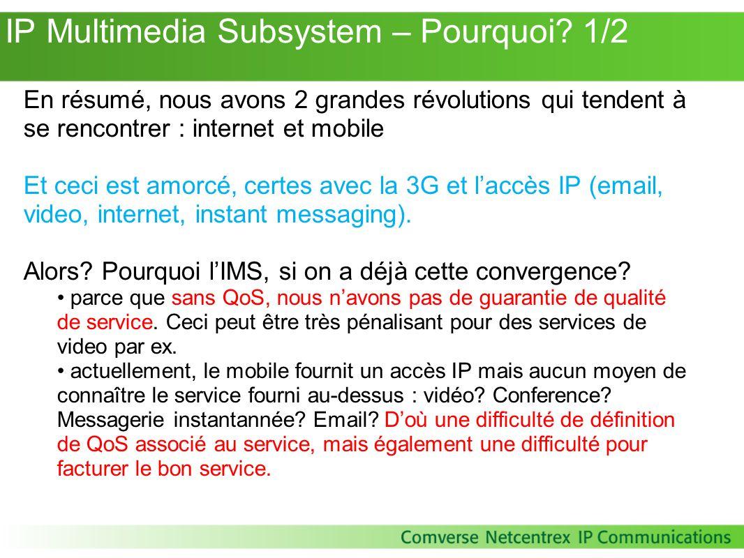 IP Multimedia Subsystem – Pourquoi? 1/2 En résumé, nous avons 2 grandes révolutions qui tendent à se rencontrer : internet et mobile Et ceci est amorc