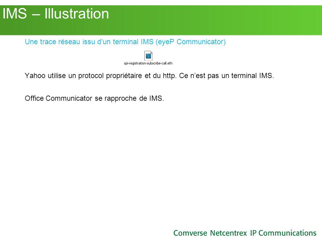 IMS – Illustration Une trace réseau issu dun terminal IMS (eyeP Communicator) Yahoo utilise un protocol propriétaire et du http. Ce nest pas un termin