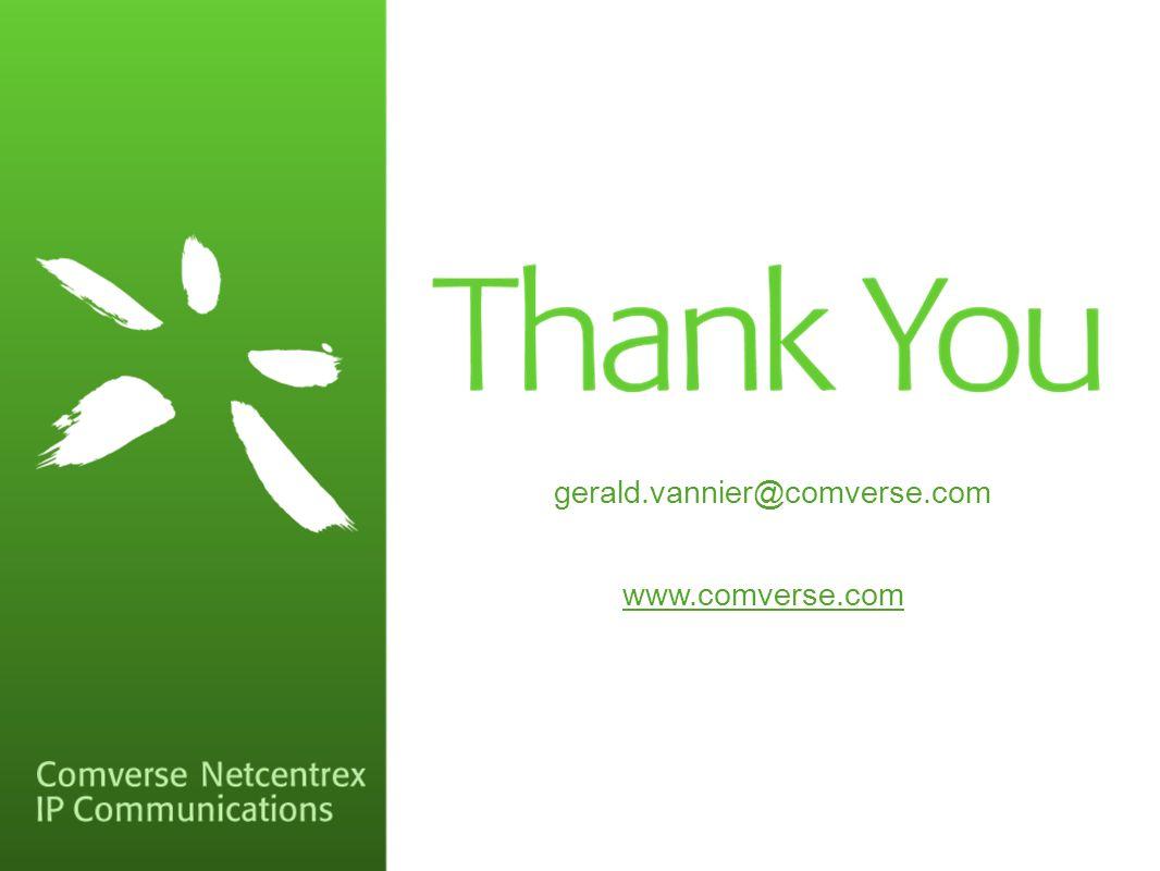 gerald.vannier@comverse.com www.comverse.com