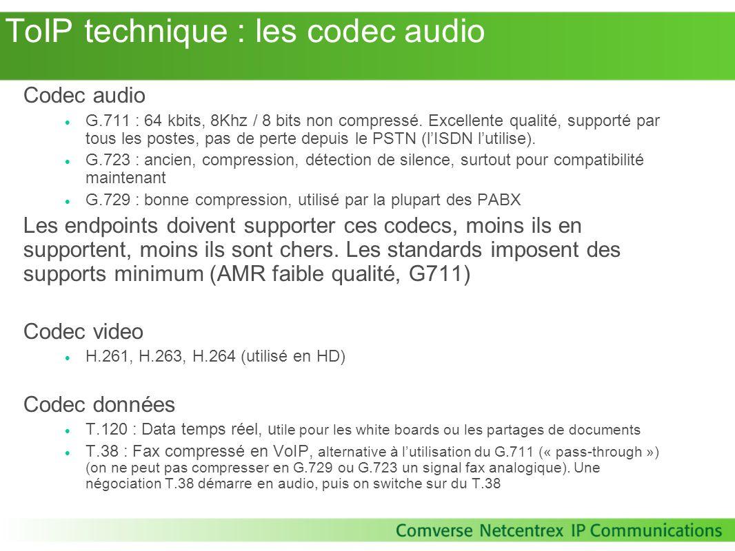 ToIP technique : les codec audio Codec audio G.711 : 64 kbits, 8Khz / 8 bits non compressé. Excellente qualité, supporté par tous les postes, pas de p