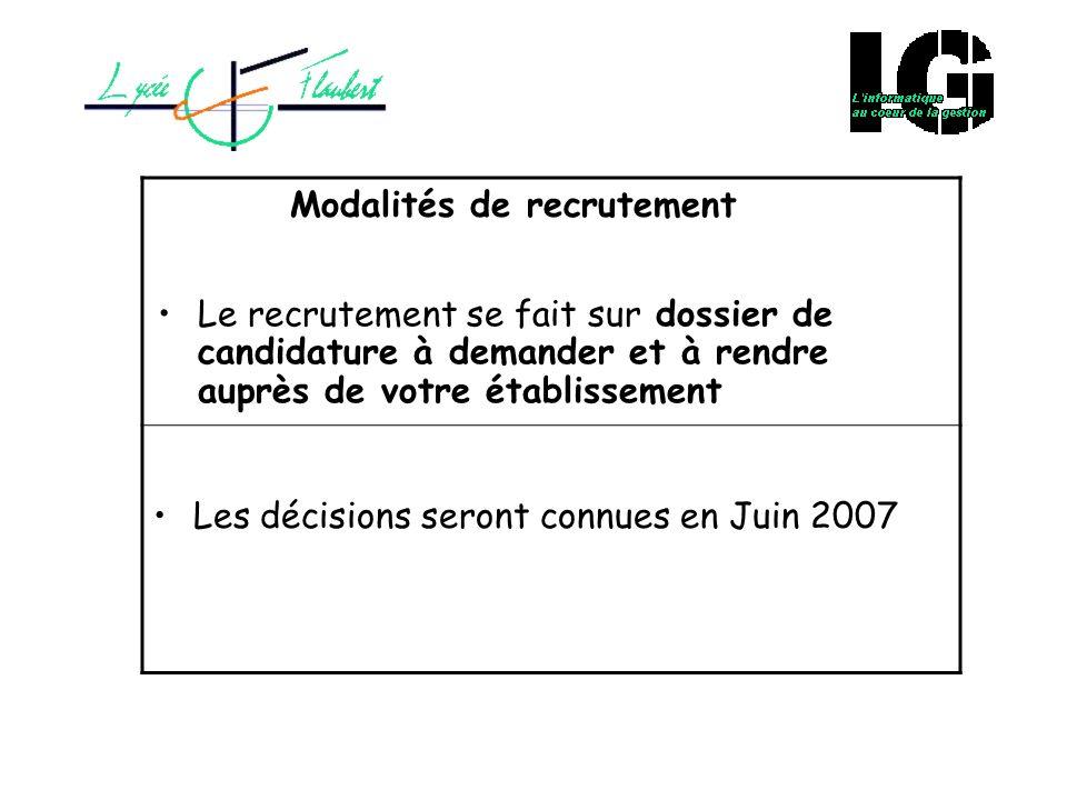 Modalités de recrutement Le recrutement se fait sur dossier de candidature à demander et à rendre auprès de votre établissement Les décisions seront c