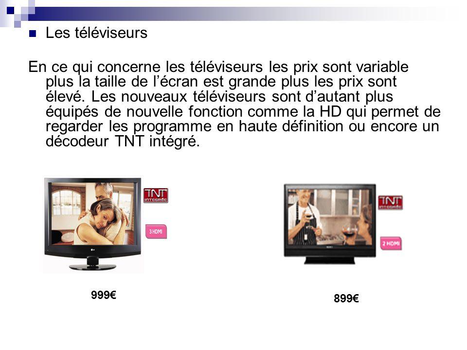 Les téléviseurs En ce qui concerne les téléviseurs les prix sont variable plus la taille de lécran est grande plus les prix sont élevé. Les nouveaux t