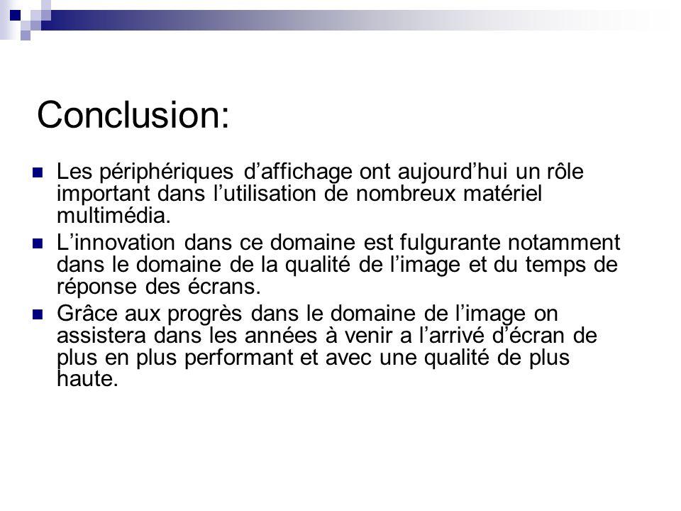 Conclusion: Les périphériques daffichage ont aujourdhui un rôle important dans lutilisation de nombreux matériel multimédia. Linnovation dans ce domai