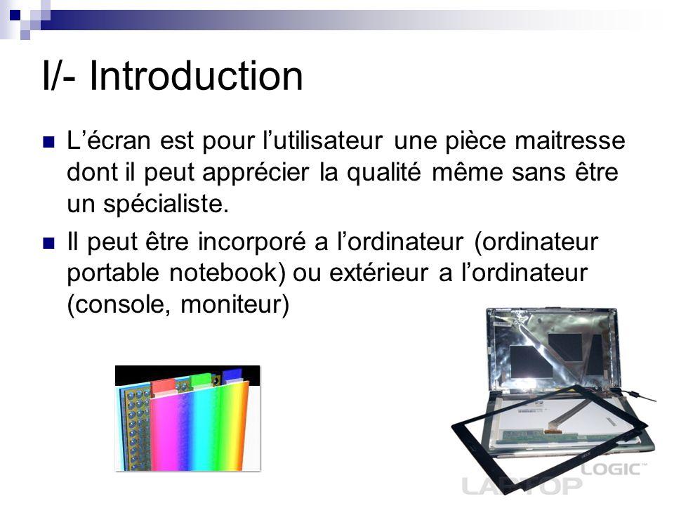 I/- Introduction Lécran est pour lutilisateur une pièce maitresse dont il peut apprécier la qualité même sans être un spécialiste. Il peut être incorp