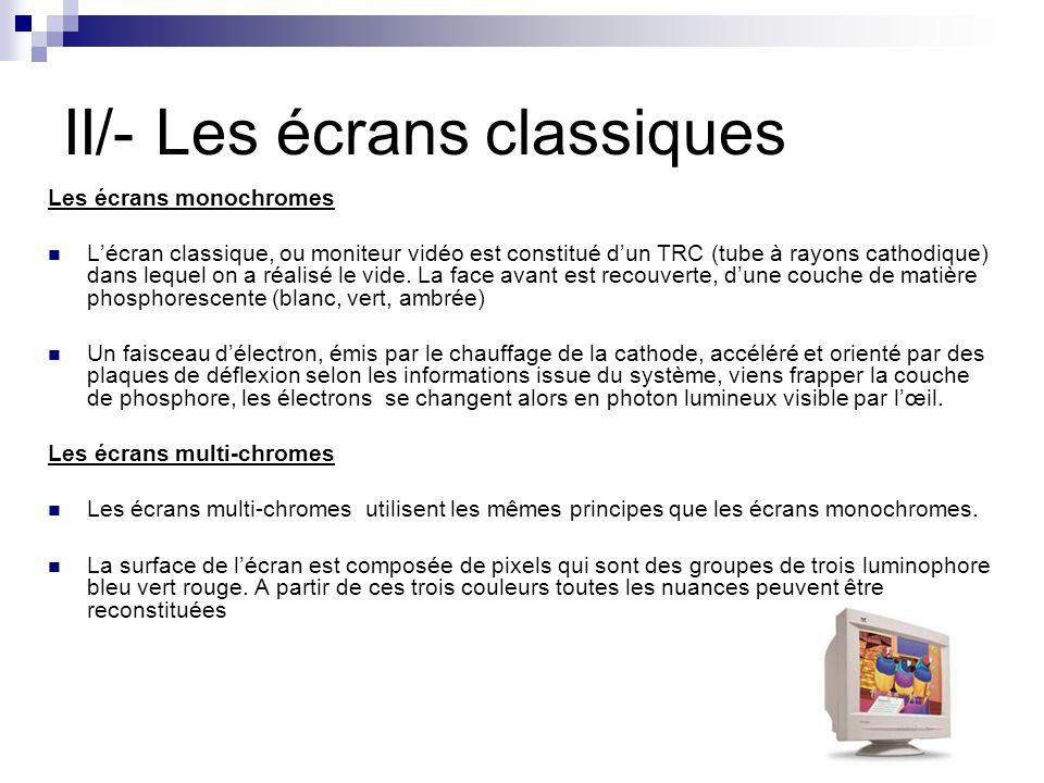 II/- Les écrans classiques Les écrans monochromes Lécran classique, ou moniteur vidéo est constitué dun TRC (tube à rayons cathodique) dans lequel on