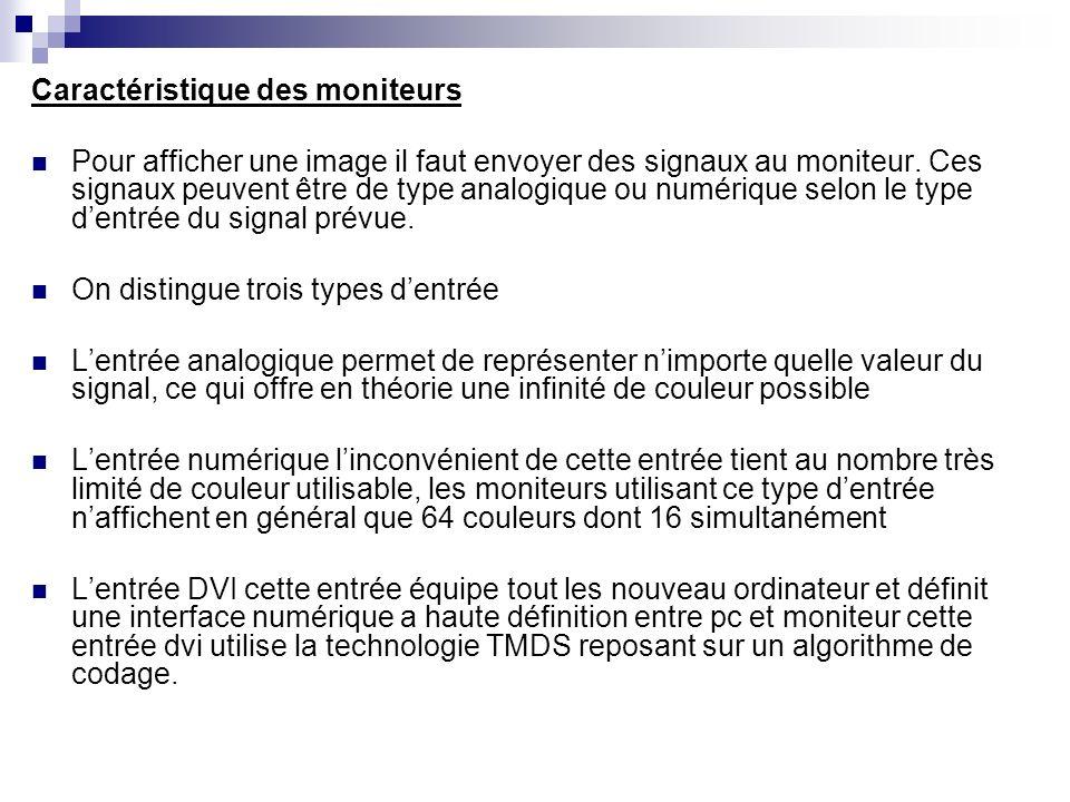 Caractéristique des moniteurs Pour afficher une image il faut envoyer des signaux au moniteur. Ces signaux peuvent être de type analogique ou numériqu