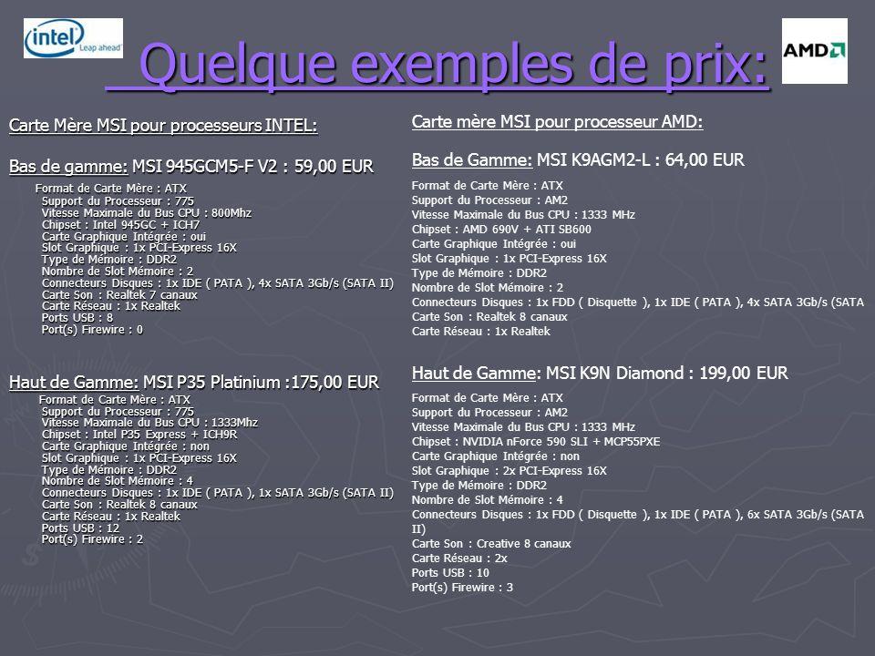 Quelque exemples de prix: Quelque exemples de prix: Carte Mère MSI pour processeurs INTEL: Bas de gamme: MSI 945GCM5-F V2 : 59,00 EUR Format de Carte Mère : ATX Support du Processeur : 775 Vitesse Maximale du Bus CPU : 800Mhz Chipset : Intel 945GC + ICH7 Carte Graphique Intégrée : oui Slot Graphique : 1x PCI-Express 16X Type de Mémoire : DDR2 Nombre de Slot Mémoire : 2 Connecteurs Disques : 1x IDE ( PATA ), 4x SATA 3Gb/s (SATA II) Carte Son : Realtek 7 canaux Carte Réseau : 1x Realtek Ports USB : 8 Port(s) Firewire : 0 Format de Carte Mère : ATX Support du Processeur : 775 Vitesse Maximale du Bus CPU : 800Mhz Chipset : Intel 945GC + ICH7 Carte Graphique Intégrée : oui Slot Graphique : 1x PCI-Express 16X Type de Mémoire : DDR2 Nombre de Slot Mémoire : 2 Connecteurs Disques : 1x IDE ( PATA ), 4x SATA 3Gb/s (SATA II) Carte Son : Realtek 7 canaux Carte Réseau : 1x Realtek Ports USB : 8 Port(s) Firewire : 0 Haut de Gamme: MSI P35 Platinium :175,00 EUR Format de Carte Mère : ATX Support du Processeur : 775 Vitesse Maximale du Bus CPU : 1333Mhz Chipset : Intel P35 Express + ICH9R Carte Graphique Intégrée : non Slot Graphique : 1x PCI-Express 16X Type de Mémoire : DDR2 Nombre de Slot Mémoire : 4 Connecteurs Disques : 1x IDE ( PATA ), 1x SATA 3Gb/s (SATA II) Carte Son : Realtek 8 canaux Carte Réseau : 1x Realtek Ports USB : 12 Port(s) Firewire : 2 Format de Carte Mère : ATX Support du Processeur : 775 Vitesse Maximale du Bus CPU : 1333Mhz Chipset : Intel P35 Express + ICH9R Carte Graphique Intégrée : non Slot Graphique : 1x PCI-Express 16X Type de Mémoire : DDR2 Nombre de Slot Mémoire : 4 Connecteurs Disques : 1x IDE ( PATA ), 1x SATA 3Gb/s (SATA II) Carte Son : Realtek 8 canaux Carte Réseau : 1x Realtek Ports USB : 12 Port(s) Firewire : 2 Carte mère MSI pour processeur AMD: Bas de Gamme: MSI K9AGM2-L : 64,00 EUR Format de Carte Mère : ATX Support du Processeur : AM2 Vitesse Maximale du Bus CPU : 1333 MHz Chipset : AMD 690V + ATI SB600 Carte Graphique Intégrée : oui Slot Gra