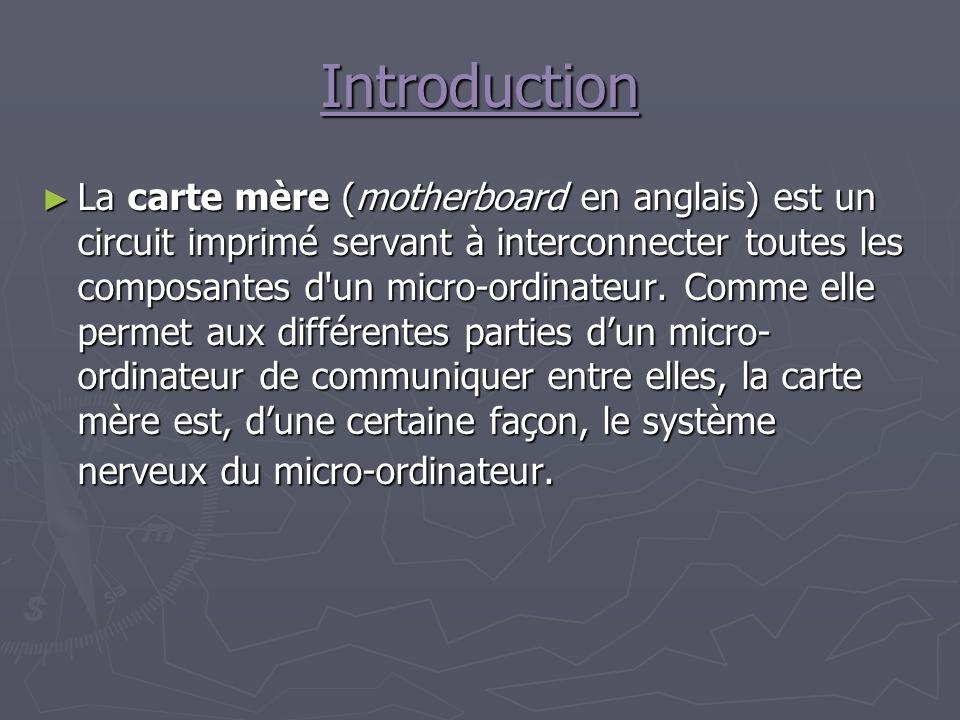 Introduction La carte mère (motherboard en anglais) est un circuit imprimé servant à interconnecter toutes les composantes d un micro-ordinateur.