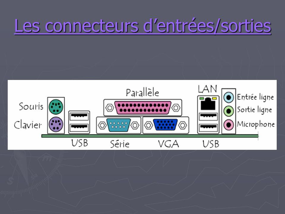 Les connecteurs dentrées/sorties