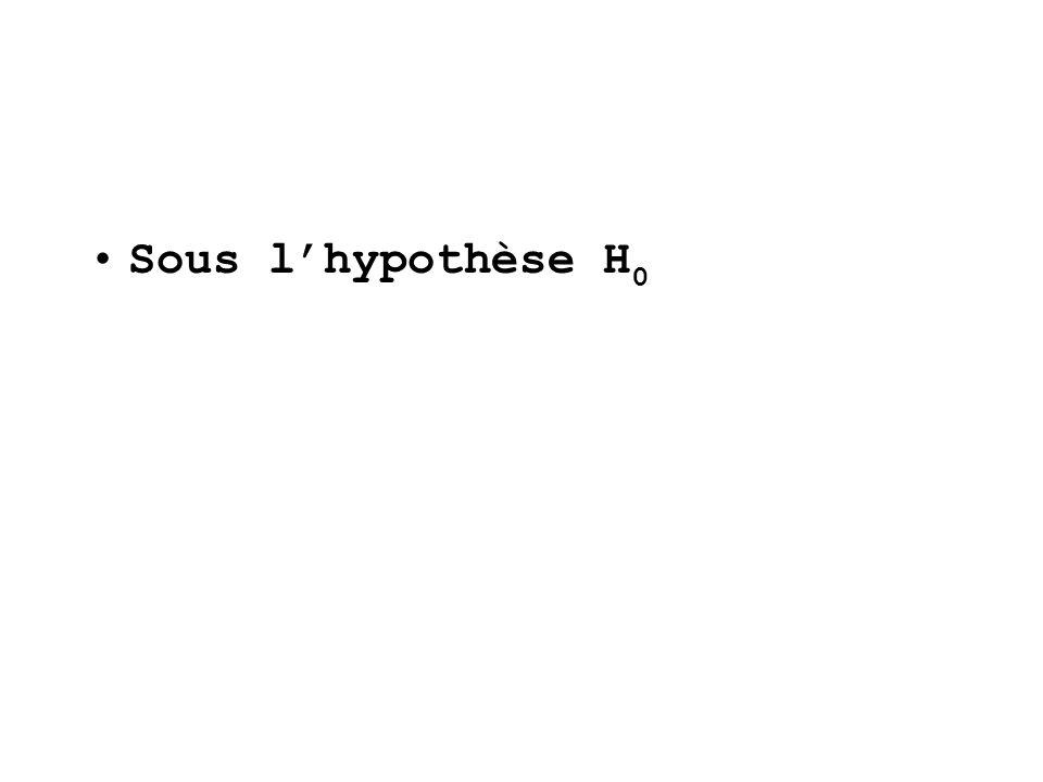 Sous lhypothèse H 0