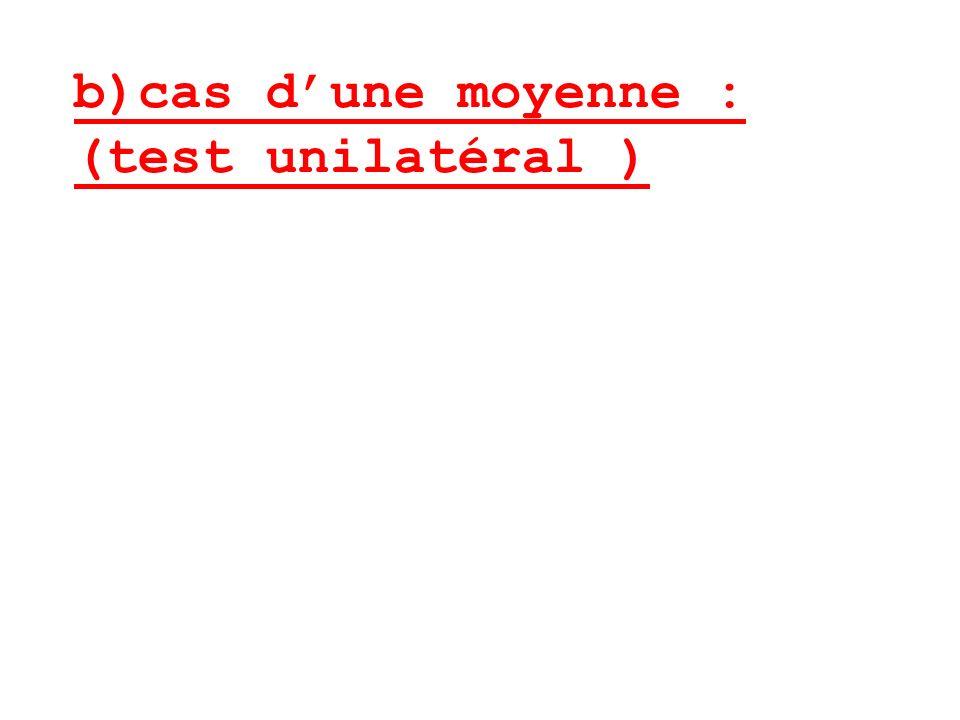 b)cas dune moyenne : (test unilatéral )