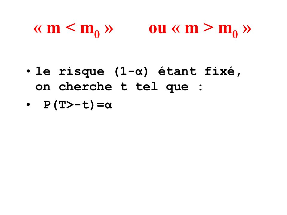« m m 0 » le risque (1-α) étant fixé, on cherche t tel que : P(T>-t)=α