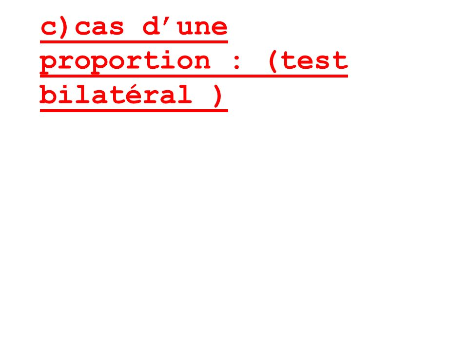 c)cas dune proportion : (test bilatéral )
